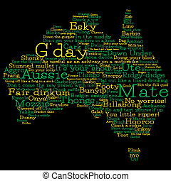 Australia map made from Australian slang words in vector...