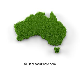Australia map made of grass. High quality 3D illustration.
