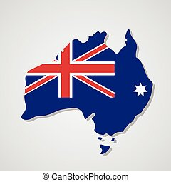 Australia Map National Flag Flat