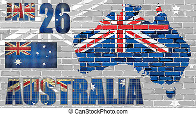 Australia map on a brick wall with effect