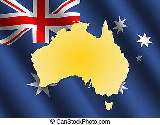 Australia map on flag