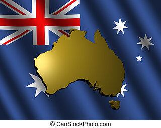 Australia map on flag illustration