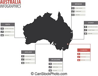 Australia map shape vector infographics