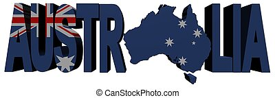 Australia map text with flag
