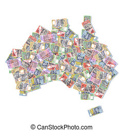 australia map with bank notes