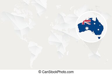 Australia map with flag in contour on white polygonal World Map.