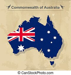 Australia map with flag isolated on vintage background, vector illustration