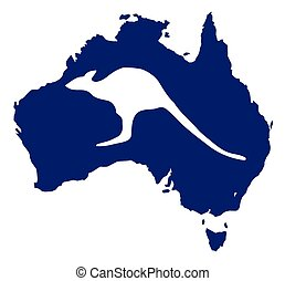 Australia Map With Kangaroo Silhouette - Silhouette map of...