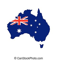 Australia map with the image of the national flag