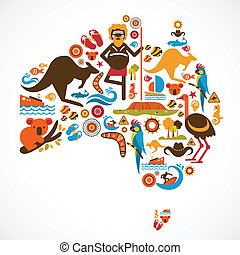 Australia map with vector icons and elements