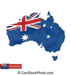 Australia map with waving flag of country.
