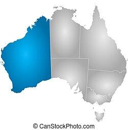 australia, mapa, australia, -, occidental