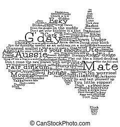 australia, mapa, hecho, de, australiano, argot, palabras,...