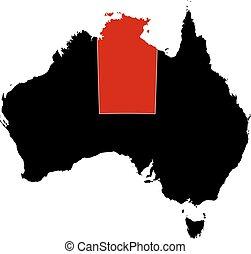 australia, mappa, -, settentrionale, treeitory