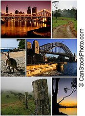 A montage of images taken by the same photographer showing some parts of Australia and how it varies