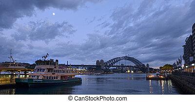 australia, muelle, anochecer, sydney, nuevo, cityscape, gales, sur, circular