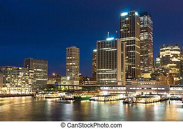 australia, muelle, moderno, cityscape, sydney, night., circular