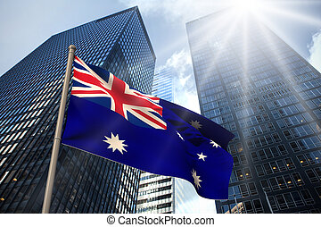 Australia national flag against low angle view of...