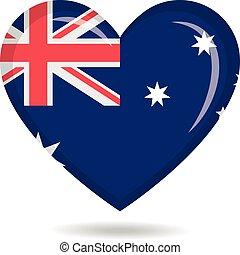 Australia national flag in heart shape vector illustration