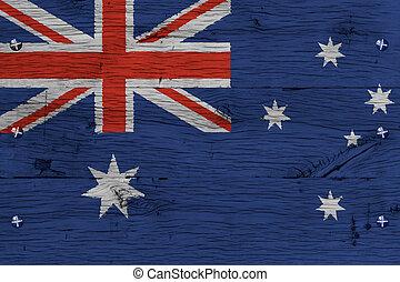 Australia national flag painted old oak wood fastened
