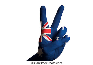 australia national flag two finger up gesture for victory and wi
