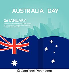 Australia National Flag Waving Flat