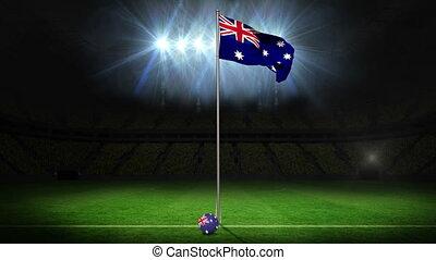 Australia national flag waving on f