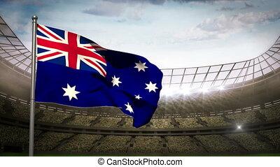 Australia national flag waving on s