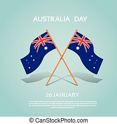 Australia National Two Flag Waving Flat