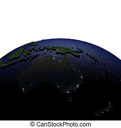 australia, notte, su, modello, di, terra, con, stampato in rilievo, terra