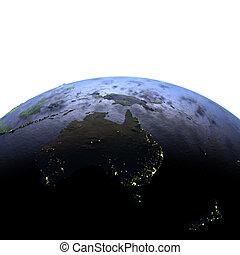 australia, notte, su, realistico, modello, di, terra