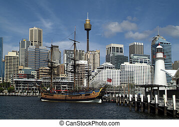 Australia, NSW, Sydney - Australia, replica of HMS Endeavour...