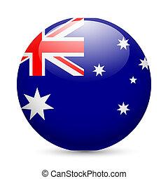 australia, okrągły, połyskujący, ikona