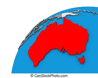 Australia on 3D globe