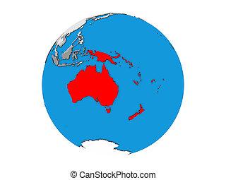 Australia on 3D globe isolated