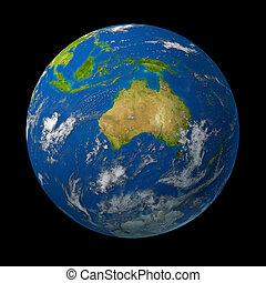 Australia on earth globe