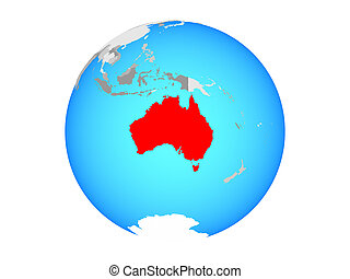 Australia on globe isolated
