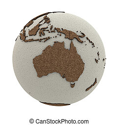 Australia on light Earth