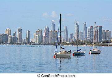 australia, oro, -, costa, contorno, paraíso, queensland,...