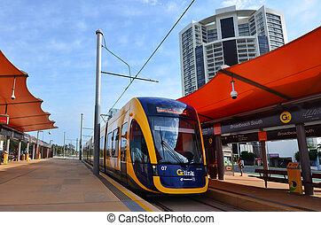 australia, oro, g, ferrocarril de vía estrecha, costa,...