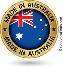 australia, oro, ilustración, vector, etiqueta, hecho