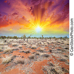 Australia, Outback landscape. Beautiful colors of earth and sky