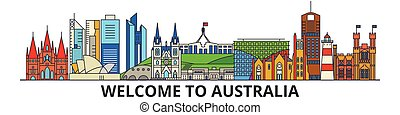 Australia outline skyline, australian flat thin line icons, landmarks, illustrations. Australia cityscape, australian travel city vector banner. Urban silhouette
