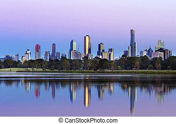 australia, parque, albert, lago, melbourne, contorno, visto, salida del sol