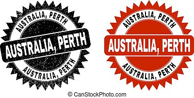 AUSTRALIA, PERTH Black Rosette Stamp Seal with Grunged Style