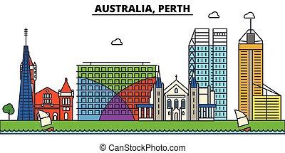 Australia, Perth. City skyline architecture, buildings,...