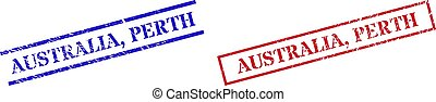 AUSTRALIA, PERTH Textured Scratched Stamp Seals with Rectangle Frame