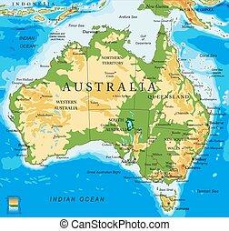 australia-physical, landkarte