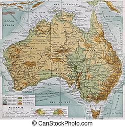 Australia physical map. By Paul Vidal de Lablache, Atlas...
