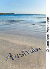 australia, pisemny, na, oddalony, plaża